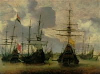 dutch men-o-war anchored off the coast by hendrick van anthonissen