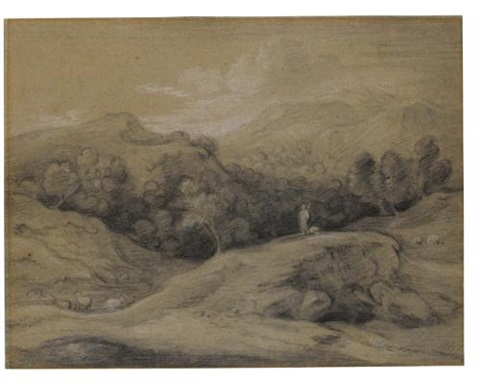 wooded landscape with shepherd sheep and mountains by thomas gainsborough