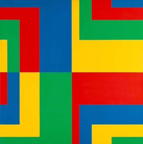 8 horizontale farbpaare aus 4 gleichgrossen und gleichgeteilten quadraten (8 horizontal colour pairs of 4 squares of the same size and equally divided) by carlo vivarelli