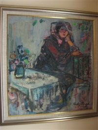untitled, seated lady on a balcony by esther peretz arad