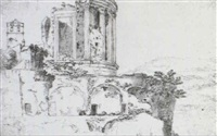 the temple of vesta at tivoli a faint     panoramic landscape and a detail of a romanesque campanile by adriaen (lossenbruy) honich