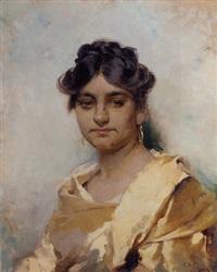 portrait of a woman in a silk dress by cecil van haanen