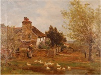 near abbey dore, herefordshire, feeding the ducks by james aumonier
