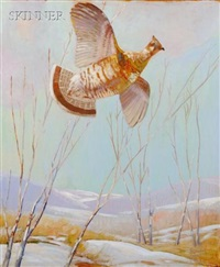 ruffled grouse in flight by reginald f. bolles
