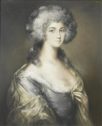 portrait of a lady, in a grey silk dress by john russell