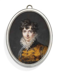 a young lady, in brown velvet coat with buttons and frogging, frilled lace upstanding collar, dark hair dressed in curls by louis françois aubry