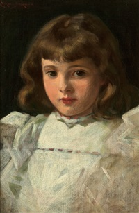 portrait of a young girl by james carroll beckwith