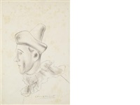 profile of a circus clown (+ 2 others; 3 works) by dame laura knight