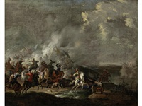 a cavalry skirmish with a town in the distance by jan-peter van bredael the younger