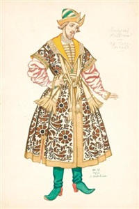 costume design for boyar ivan sergeevich lykov in the tsar's bride by ivan yakovlevich bilibin