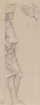 a standing youth in renaissance costume, seen in profile, facing right, with a subsidiary study of a hand by james jacques joseph tissot