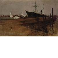 new york harbor steam lighter by john henry twachtman