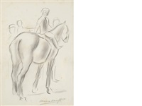 figure on a horse (+ 2 others; 3 works) by dame laura knight