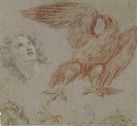 male head and an eagle (study) by noël nicolas coypel