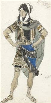 costume design for the martyrdom of san sebastian by leon bakst