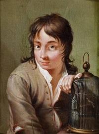 Johann <b>Friedrich Gerhard</b> - johann-friedrich-gerhard-seated-boy-with-a-birds-cage,-symbolising-the-hearing