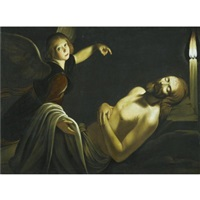 an angel watches over the dead christ by trophîme (theophisme) bigot the elder