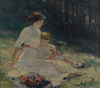 untitled (seated mother and child in a meadow) by catherine wiley