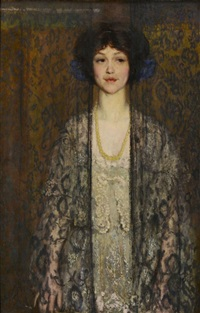 young woman in white dress with enigmatic expression by philip leslie hale