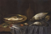 a dead fish in a copper plate, root vegetables, a duck and other game on a partially draped table by french school-alsatian (18)