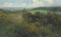 an indonesian landscape, with houses, palm trees and rice fields by sudjono abdullah