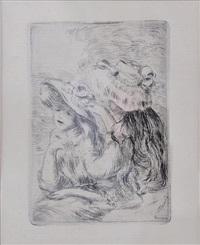 le chapeau epingle (la fille de berthe morisot et sa cousine), 1re planche (delteil 8) by pierre-auguste renoir