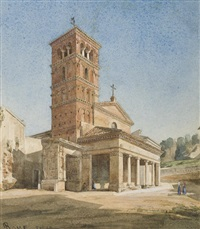 vue de l'église san giorgio al velabro à rome by paul de pury