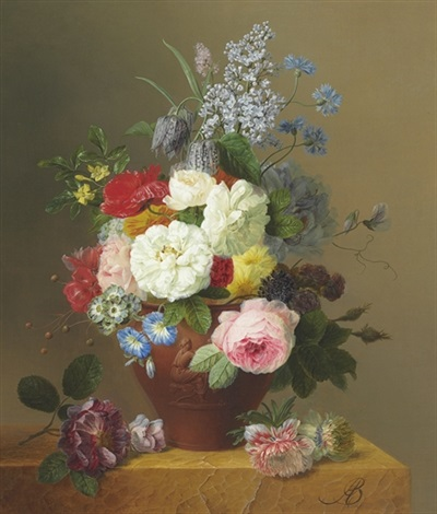 roses poppies cornflowers convulvulus jasmine fritilleries a primula a peony and lilac in a terracotta vase with a sprig of roses and other flowers on a stone ledge by arnoldus bloemers
