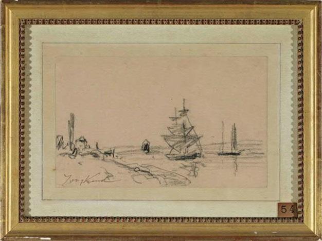 bateaux à voiles au bord du rivage by johan barthold jongkind