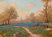 blue bonnet landscape by josé arpa perea