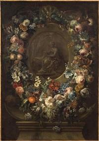 guirlande de fleurs et de fruits entourant une scène antique en grisaille by gaspar pieter verbruggen the younger