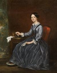 portrait de femme à son ouvrage by eugénie gautier