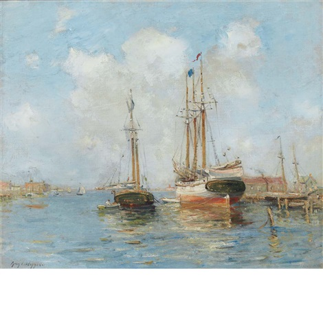 sailing ships in a harbor by guy carleton wiggins