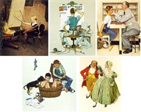 the artist's daughter; the deadline; the optometrist; lickn' good bath; dancing partners (5 works) by norman rockwell