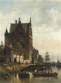 a view on the quay of the schelde with the pilotage, antwerp by jean (jan) michael ruyten