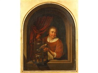 young girl with a perroquet in a niche, the reverse with an heraldic seal by gerrit dou