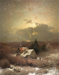 bauerngehöft in winterlicher einöde by sophus jacobsen