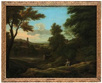 classical landscape with a tomb and figures by a lake by george lambert