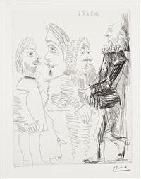 quatre hommes en costume rembranesque (four men in rembrandtesque suits), plate 13 for 347 series by pablo picasso