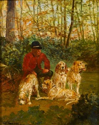 a huntsman waiting with hounds by e.m. samson