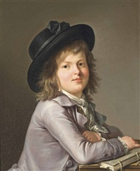 portrait of a young boy, half-length, in a grey jacket and a black hat, at a table with a book by marie-victoire lemoine