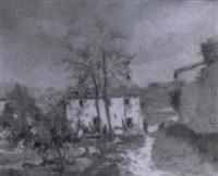 paisaje de gerona con casas y figuras by joaquim asensio