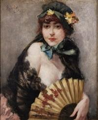 portrait d'élegante by ferdinand heilbuth