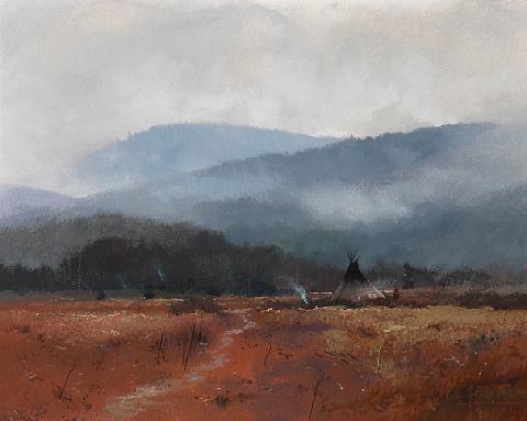 autumn mist by thomas kinkade