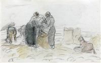 la recolte a auvers (recto) deux oies (verso) by camille pissarro