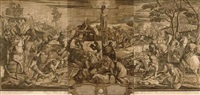 the crucifixion (after tintoretto) (+ the marriage feast at cana (after veronese), smllr; 2 works) by john baptist jackson