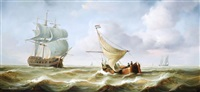 a dutch fishing boat in rough seas (+ 2 similar; 3 works) by jean laurent