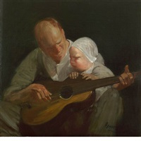 man and child with guitar (portrait of the artist's brother with his son) by george benjamin luks