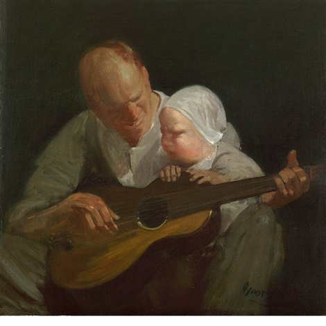 man and child with guitar portrait of the artists brother with his son by george benjamin luks