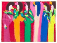 untitled (six women and eight birds) by walasse ting